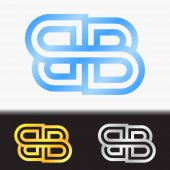 Initial letter BB premium blue metallic rotated lowercase logo template in white background, and custom preview in gold and silver color