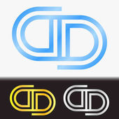 Initial letter DD premium blue metallic rotated lowercase logo template in white background, and custom preview in gold and silver color