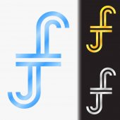 Initial letter JJ premium blue metallic rotated lowercase logo template in white background, and custom preview in gold and silver color