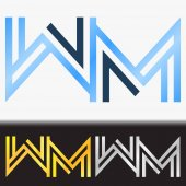 Initial letter MM premium blue metallic rotated lowercase logo template in white background, and custom preview in gold and silver color