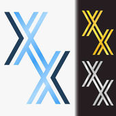 Initial letter XX premium blue metallic rotated lowercase logo template in white background, and custom preview in gold and silver color