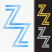 Initial letter ZZ premium blue metallic rotated lowercase logo template in white background, and custom preview in gold and silver color