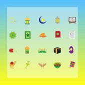 islamic muslim concept flat icons for ramadhan, hajj, eid mubarak, eid al fitr, eid ul adha, iswa mi'raj