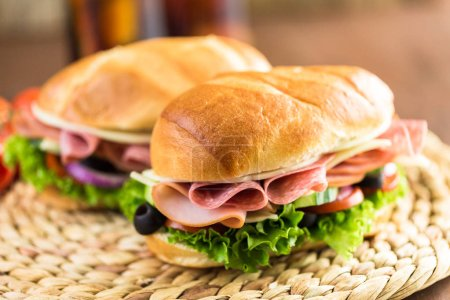 Sub sandwiches with fresh vegetables