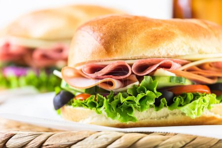 Sub sandwiches with cola