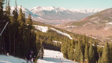 Alpine skiing at the beginning of the ski season.
