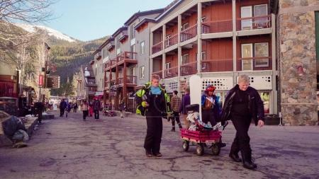 Colorado, USA-November 26, 2017. POV point of view - Keystone ski village at the beginning of the ski season.