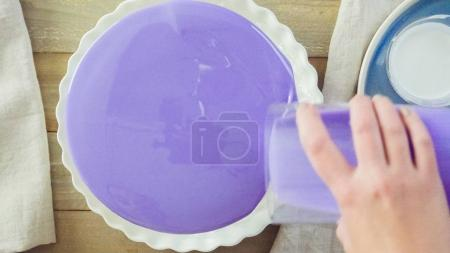 Mousse cake with mirror glaze