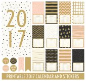 Twelve month 2017 calendar template Hand drawn patterns in black gold pastel pink and cream Matching round stickers and ribbons