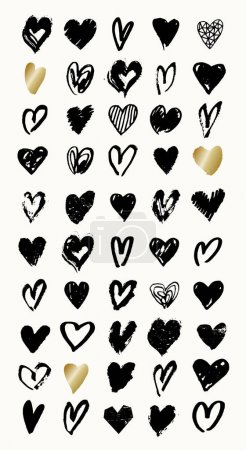 Heart shapes in black and gold