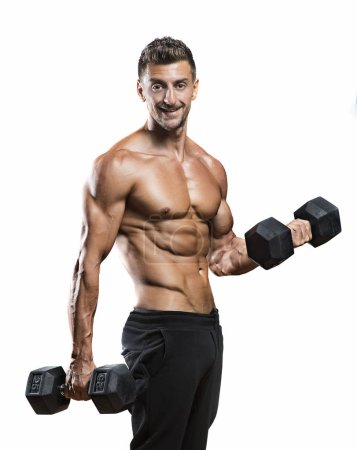 Muscular bodybuilder holding dumbbells weights
