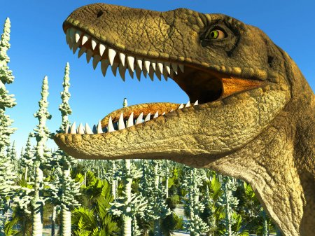 Photo for Velociraptor the dinosaur on marsh land - Royalty Free Image