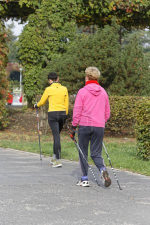 Photo for People in fitness course nordic walking in nature - Royalty Free Image