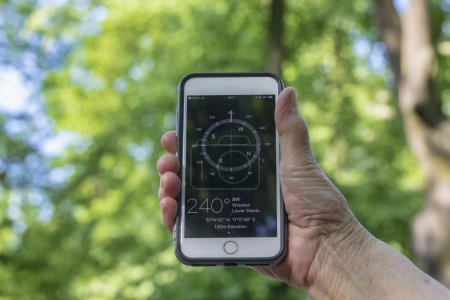 Photo for Compass in the hand on green background - Royalty Free Image
