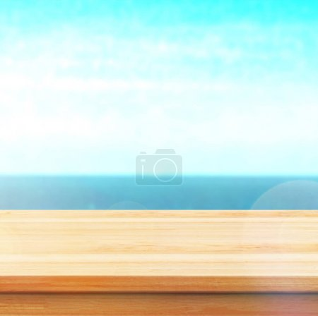 Photo for Wood table top on blur mountains background. Nature concepts. For montage product display or design key visual layout. - Royalty Free Image