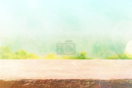 Photo for Empty top of wooden table for montage product display or design key visual layout. - Royalty Free Image