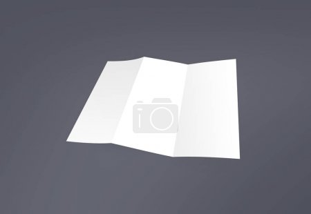 Photo for Tri-fold brochure mock-up. Blank brochure white template paper on background. Three fold paper brochure for your design. - Royalty Free Image