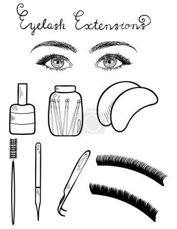 Eyelash extensions. Vector illustration.