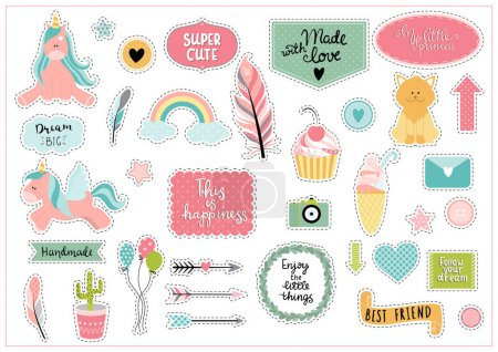 Set of colorful scrapbooking stickers - unicorn, cupcake, ice cr