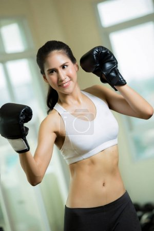 Photo for Woman with boxing gym - Royalty Free Image