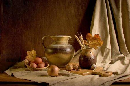 Photo pour Nature morte couleurs de fruits style hollandais classique de la peinture du vin - image libre de droit