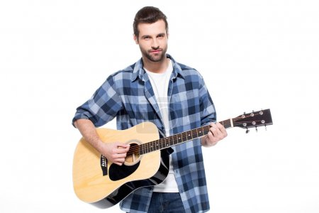 Photo for Handsome young man playing acoustic guitar isolated on white - Royalty Free Image