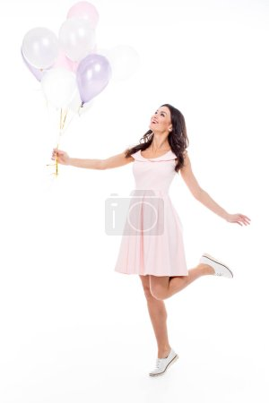 Woman with air balloons