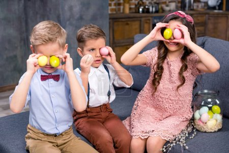 Kids with Easter eggs