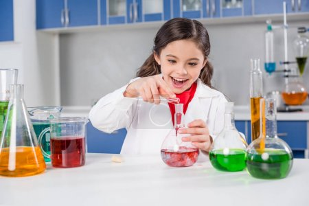 Girl in chemical lab
