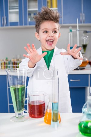 Boy in chemical lab