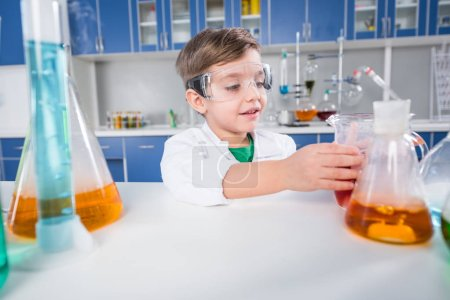 Boy in chemical lab
