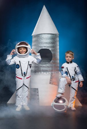 Kids playing astronauts