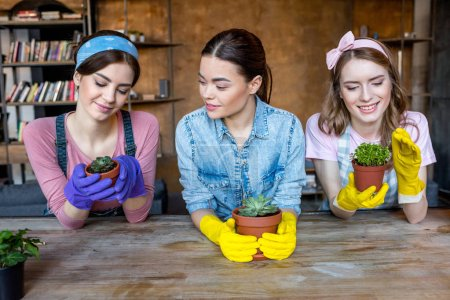 Photo for Beautiful young women in rubber gloves with green plants in flowerpots - Royalty Free Image