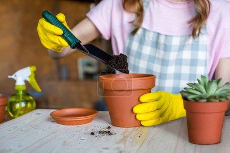 Photo pour Jeune femme en gants de caoutchouc amoncelant terrain en pot de fleurs avec pique-nique de jardin - image libre de droit