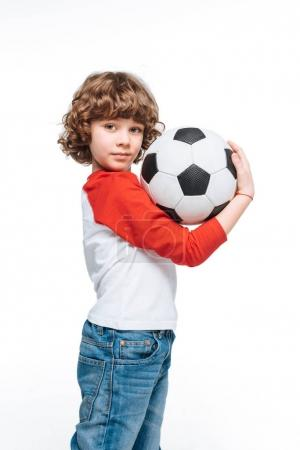 Little kid with soccer ball