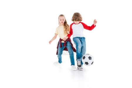Photo for Boy and girl playing football isolated on white, children sport concept - Royalty Free Image