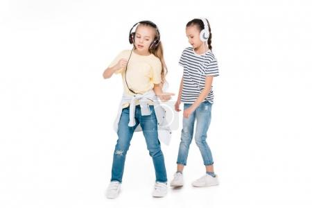 Kids in headphone listening music