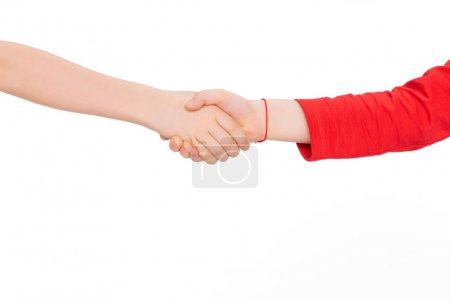 Photo pour Bouchent se serrant la main isolé sur blanc - image libre de droit