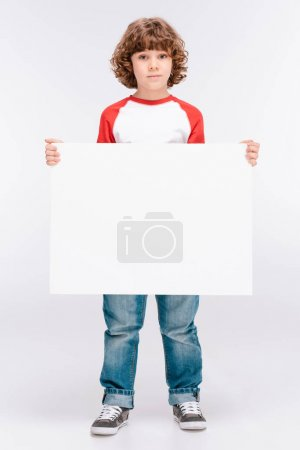 Boy holding white blank board