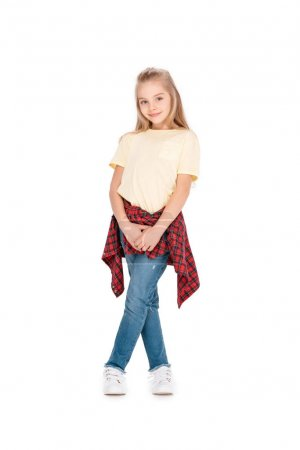 Photo for Smiling casual dressed girl posing isolated on white background - Royalty Free Image