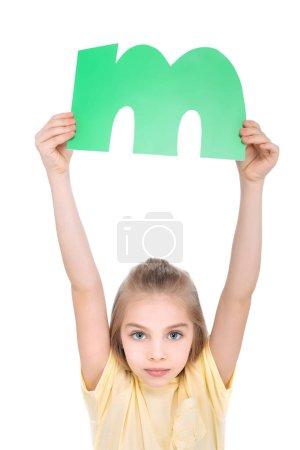 Kid holding alphabet letter