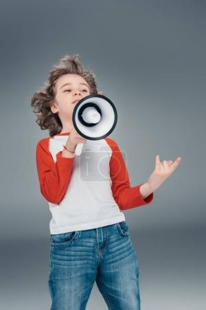 Boy using loudspeaker