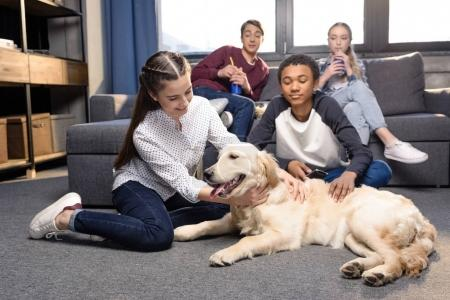 Teenagers with golden retriever dog