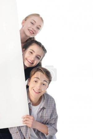 Teenagers with big banner