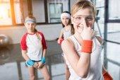 kids fooling around at fitness studio