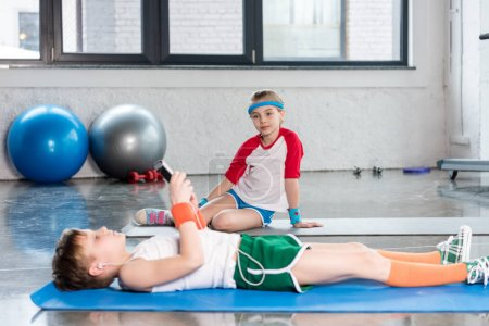 Boy and girl in gym