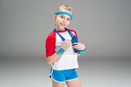 active girl with skipping rope