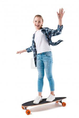 happy girl with skateboard
