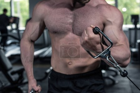 Photo for Cropped shot of young shirtless bodybuilder training with weight machine at gym - Royalty Free Image
