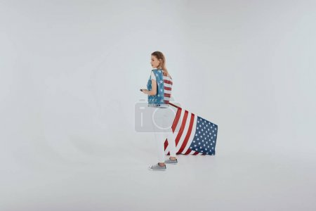 Girl in american patriotic outfit